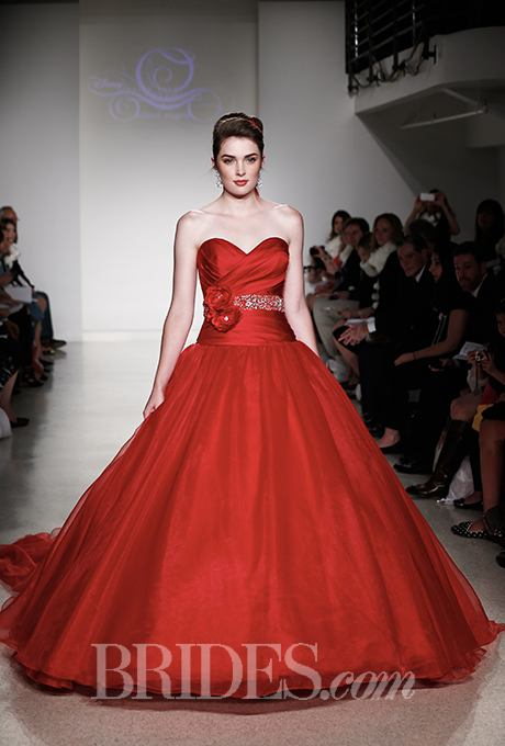 Red satin and tulle ball gown wedding dress by Alfred Angelo. Photo by: Thomas Iannaccone / Brides.com