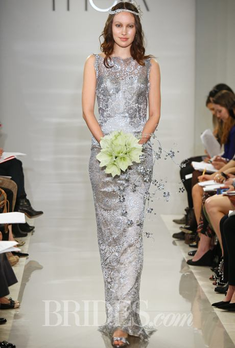 Sleeveless silver metallic lace sheath wedding dress by Theia. Brides.com