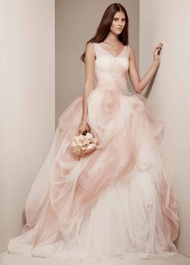 Ombre Tulle Ball Gown with Pick Up Skirt by White by Vera Wang.  Brit+Co