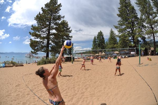 c2c47ab50d9 This mile-long private beach is all set for volleyball. Photo Credit   Zephyr Cove Resort