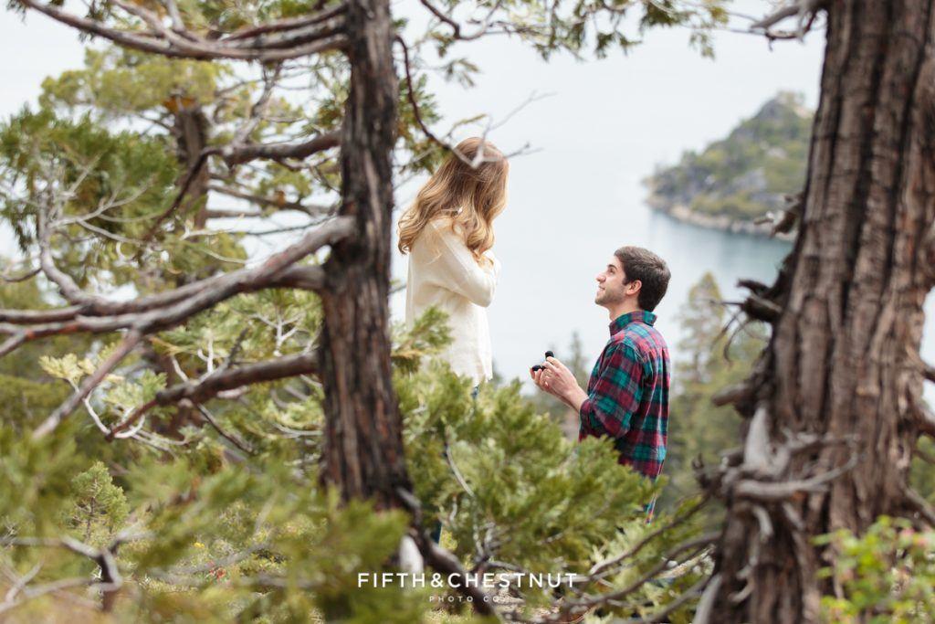 Tahoe wedding proposal overlooking Emerald Bay. Photo Credit: Fifth & Chestnut