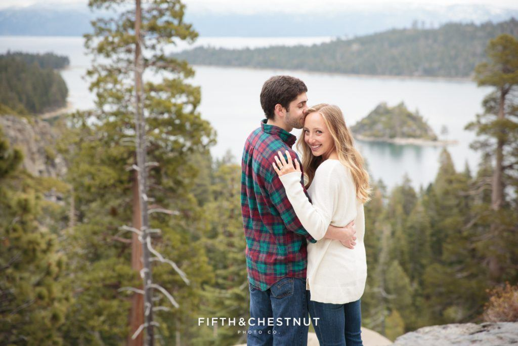 The breathtaking view at 6600 feet overlooking Lake Tahoe's Emerald Bay is a majestic setting for a wedding proposal. Photo Credit: Fifth & Chestnut