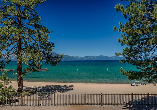 The breathtaking view of Lake Tahoe from The Grand Terrace at The Landing. Photo Credit: The Landing