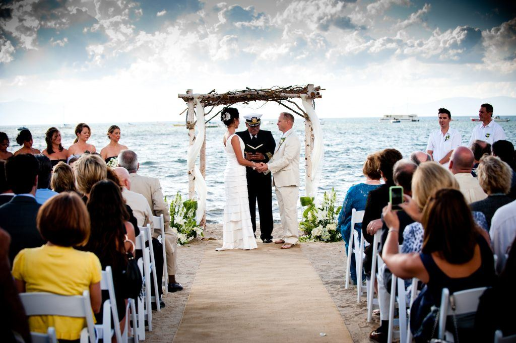 Exchange vows at water's edge of beautiful Lake Tahoe. Photo Credit: Zephyr Cove Resort