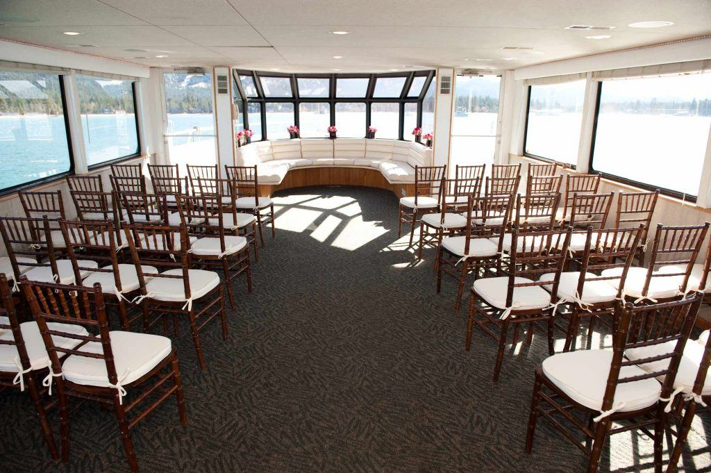 Host your wedding ceremony on a luxurious yacht called Tahoe Paradise, surrounded by water. Photo Credit: Lake Tahoe Cruises