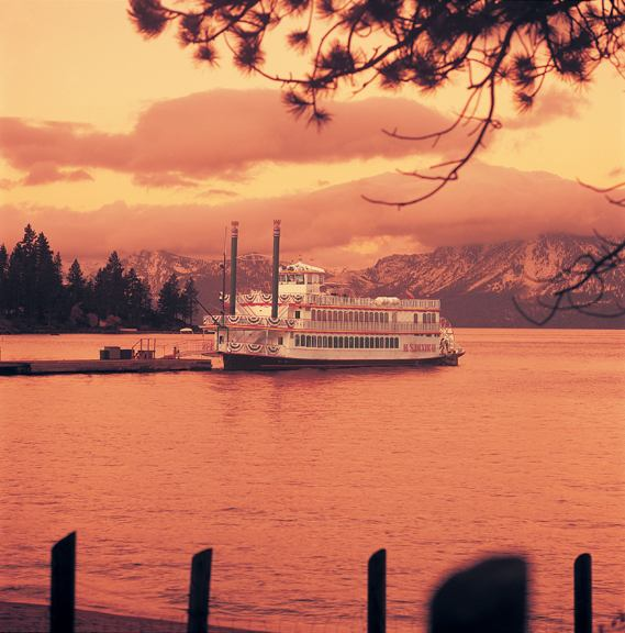 sunset on lake tahoe with the ms dixie II