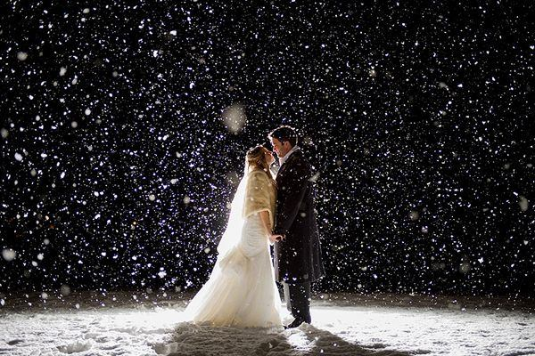 bride and groom kissing as snow falls around them