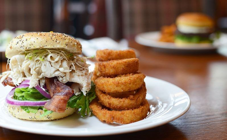 gourmet sandwich and onion rings