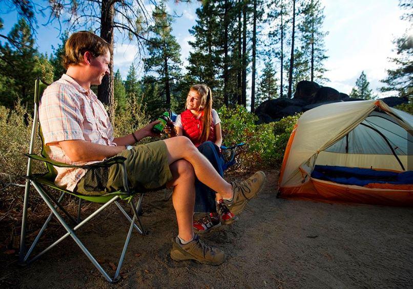 couple camping at zephyr cove resort lake tahoe
