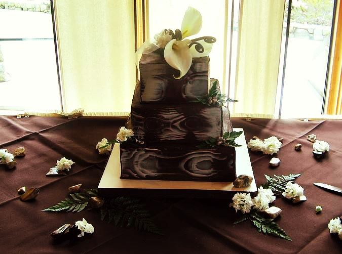 Stacked wood wedding cake toppers