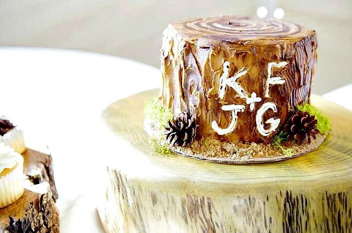wood stump wedding cake toppers