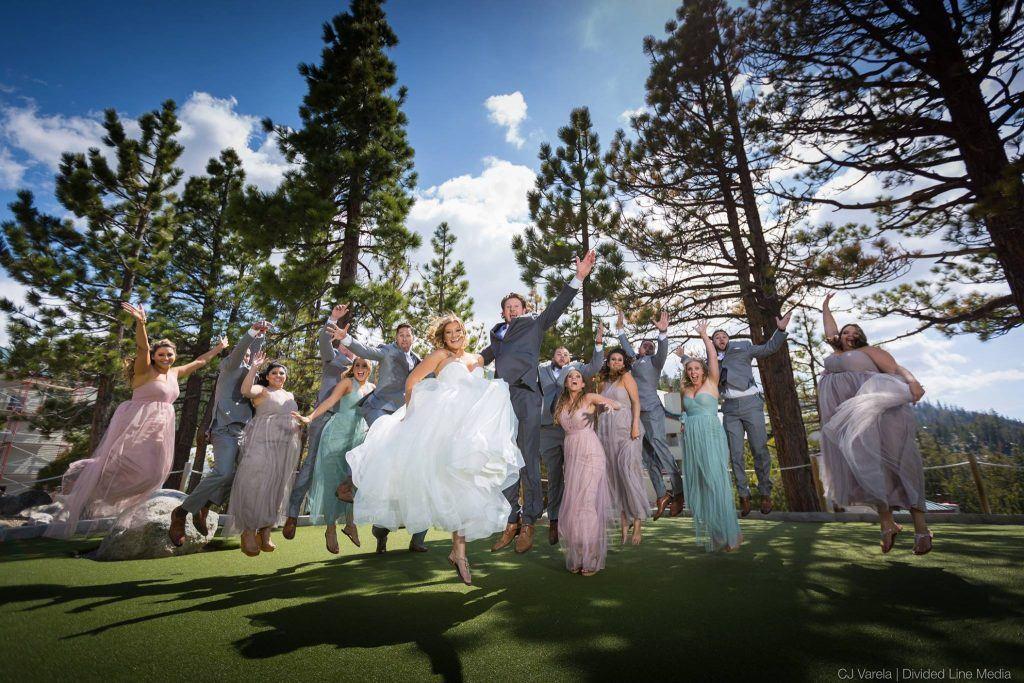 fun wedding party group shot