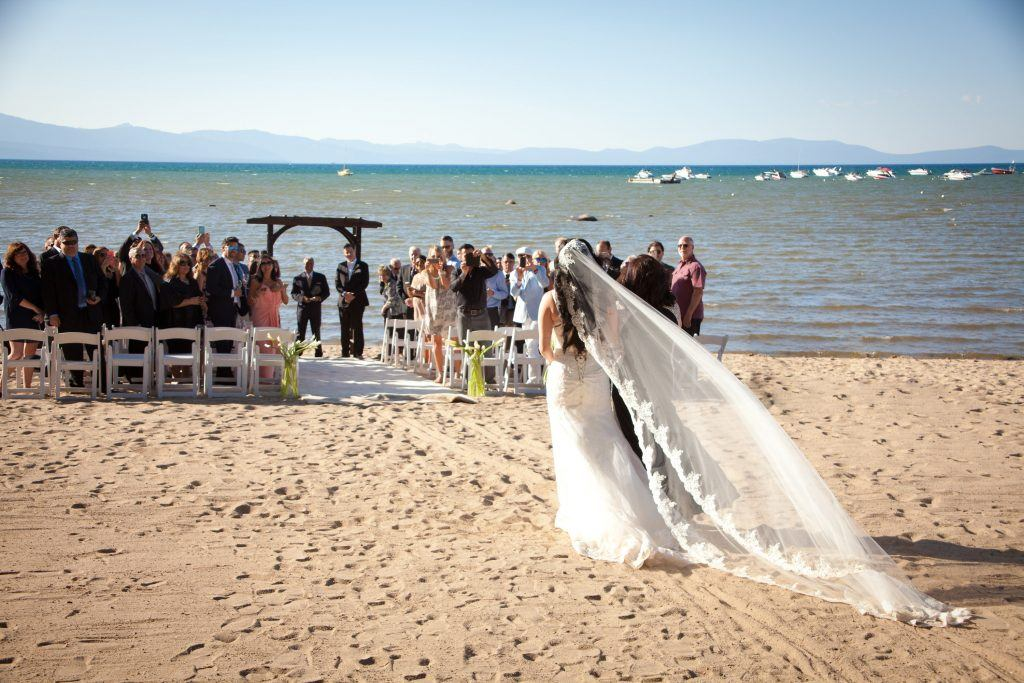 beach wedding with long veil