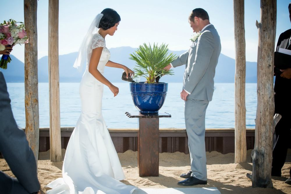 bride and groom at lake tahoe