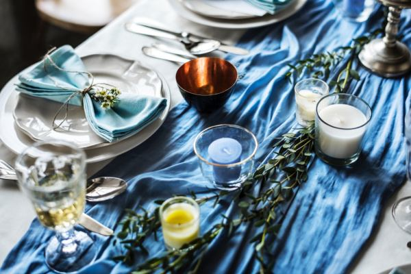 copper and blue table setting