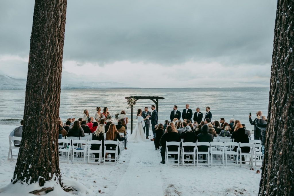 lake tahoe beach wedding in the snow