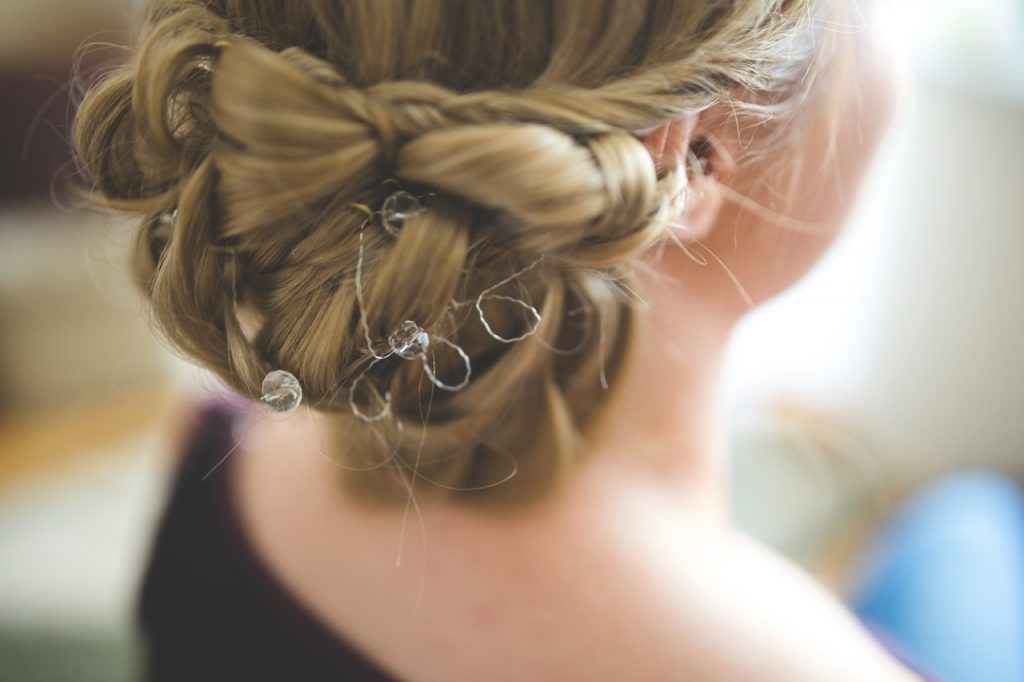 braided up-do romantic wedding hairstyle