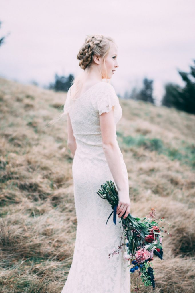 bride with a romantic up-do hairstyle