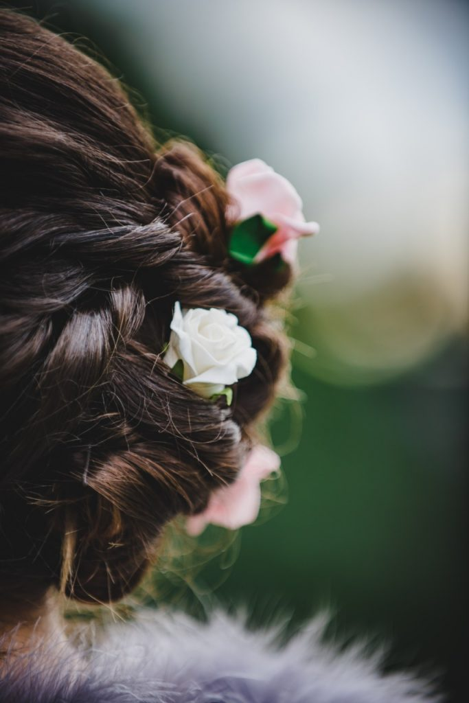 flowers in a woman's hair