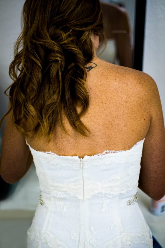 brunette bride with loose romantic waves