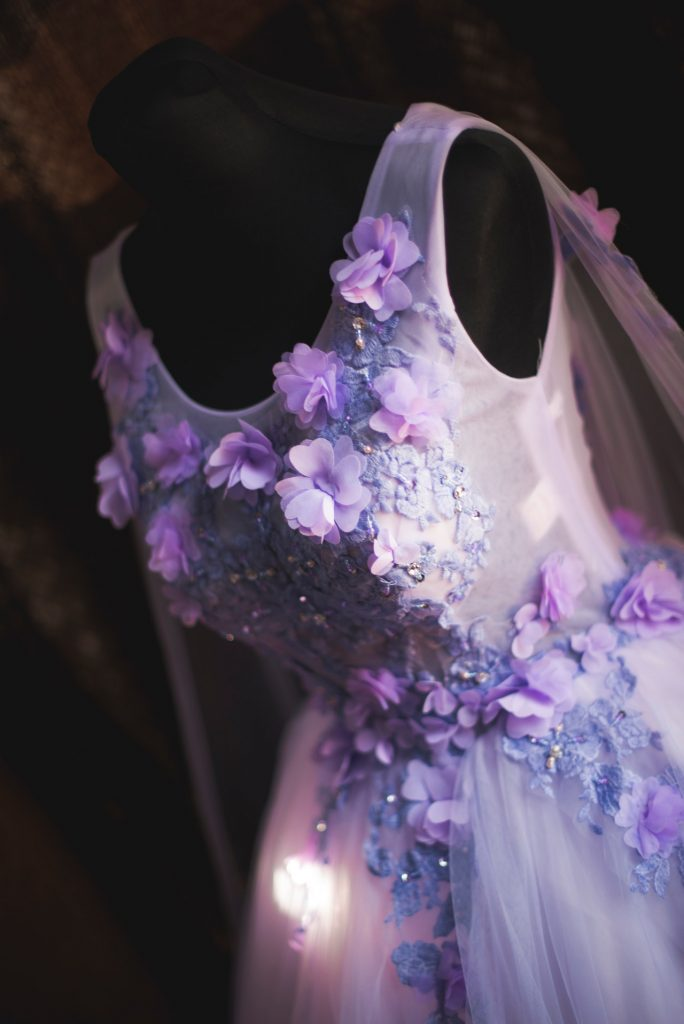 summer wedding dress with lavender flowers