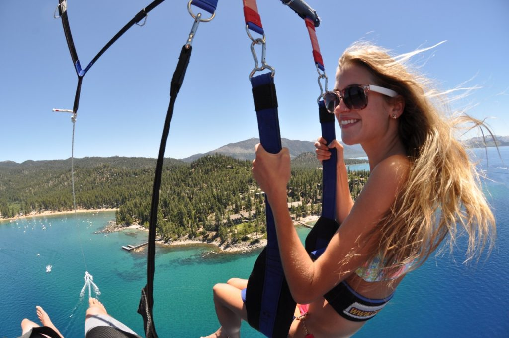 couple parasailing in South Lake Tahoe