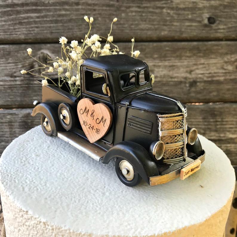 rustic farm truck wedding cake topper